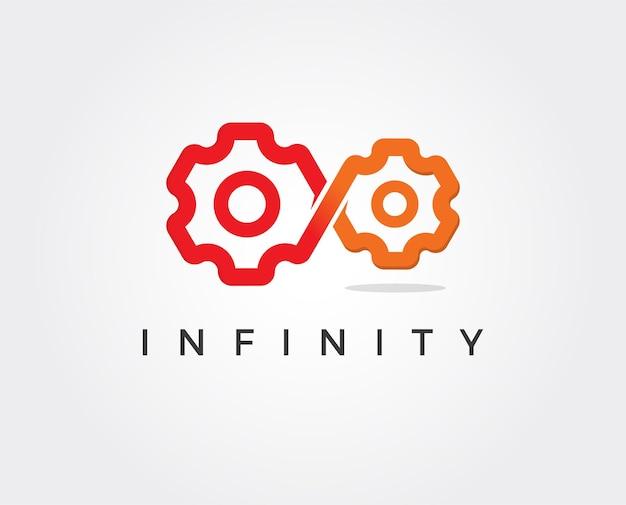 Wieczne logo silnika koło zębate lub zębnik i symbol nieskończoności perpetuum mobilny przemysł i ikona inżynierii mechanicznej