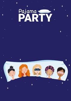 Wieczór panieński. plakat dla kobiet w stylu piżamy party. karta z tekstem na niebieskim tle. dorośli różnych narodowości śpią razem na poduszce. płaskie ilustracji wektorowych