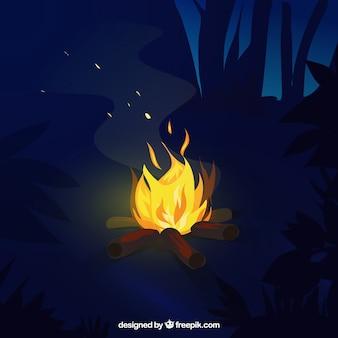Wieczór tle z ogniskiem