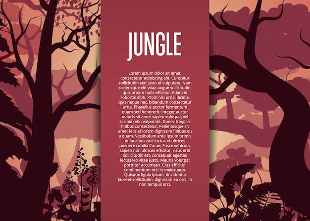 Wieczorem tropikalnej dżungli szablon tło