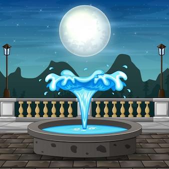 Wieczorne elementy parku miejskiego z fontanną