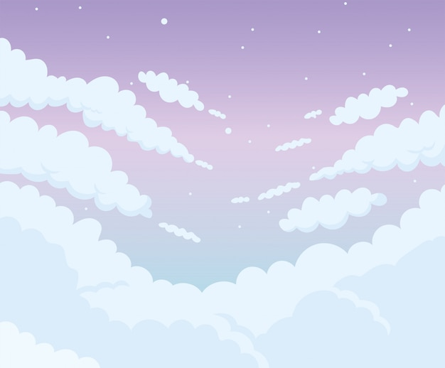 Wieczorne niebo chmury projekt kreskówki