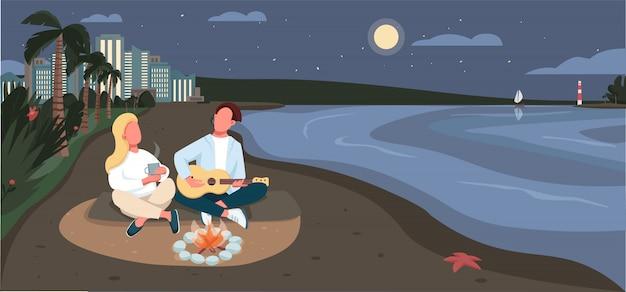 Wieczorny piknik na piaszczystej plaży płaski kolor ilustracji