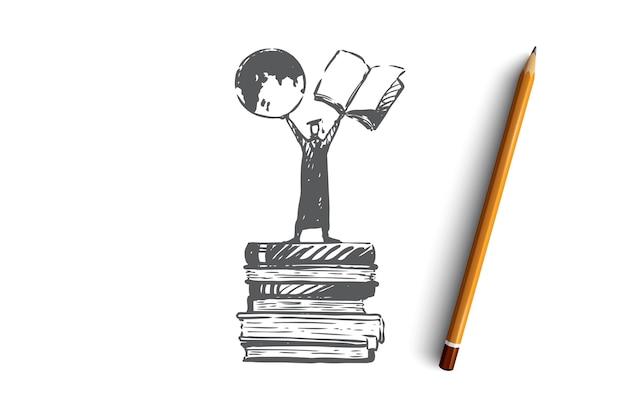 Wiedza, moc, książki, student, koncepcja uczenia się. ręcznie rysowane osoba stojąca na stosie książek szkic koncepcji. ilustracja.