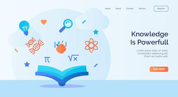 Wiedza to potężna kampania z ikoną atomu dna w otwartej książce dla strony internetowej głównej strony głównej szablonu do lądowania baner z płaskim stylem kreskówki.