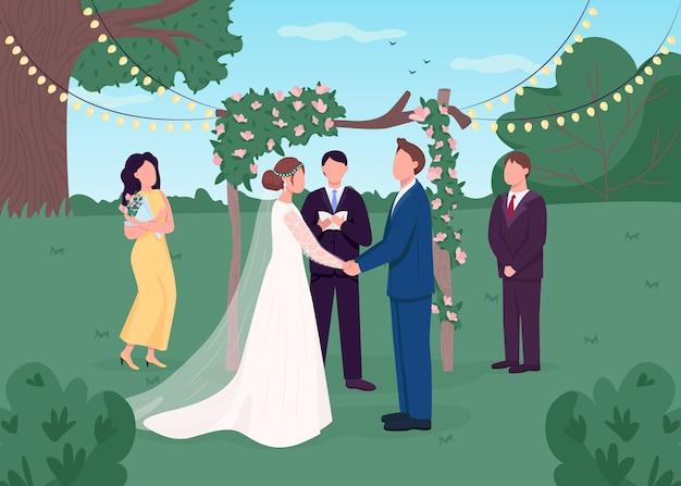 Wiejska ceremonia ślubna płaski kolor ilustracja