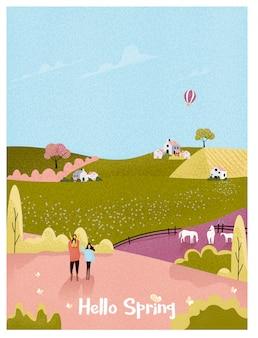 Wiejska farma na wiosnę lub lato, pocztówka z krajobrazem. szczęśliwa rodzina z dzieckiem w naturalnym gospodarstwie. vintage ton w kolorze różowym i zielonym z hałasem i ziarnistością.