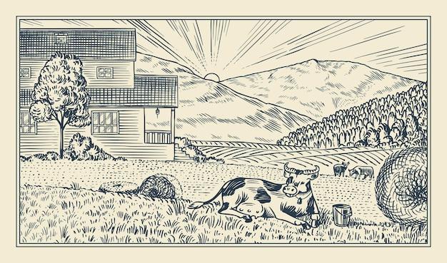 Wiejska łąka. krajobraz wsi z krowami, wzgórzami i farmą. słoneczny widok na malowniczy kraj. wyciągnąć rękę