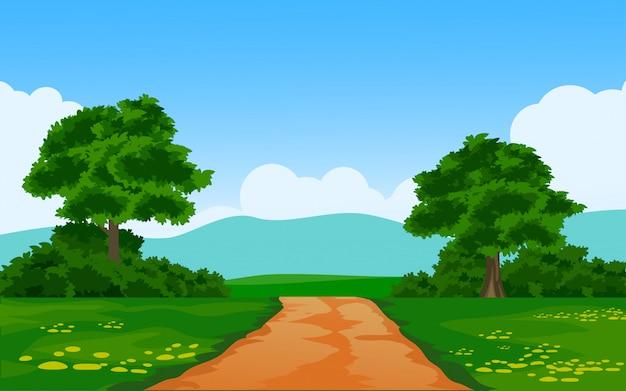Wiejski charakter tło z chodnik