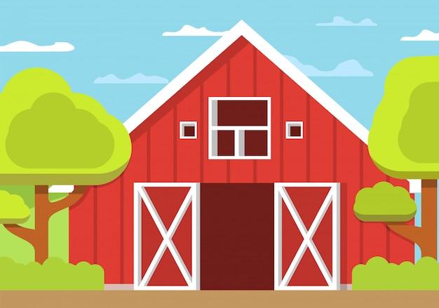 Wiejski krajobraz gospodarstwa, drewniana stodoła otwarta brama płaski.