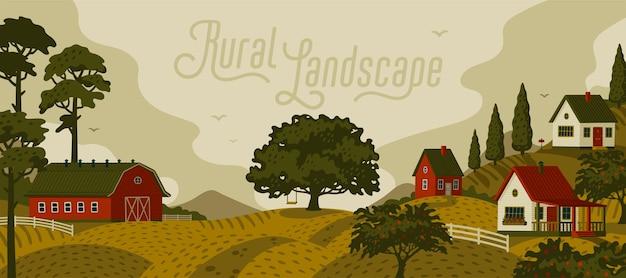 Wiejski krajobraz. panoramiczny krajobraz z wioską i drzewami.