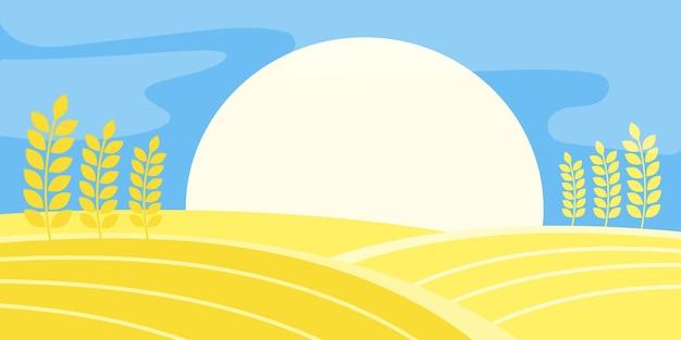 Wiejski krajobraz pole pszenicy słońce żniwa.