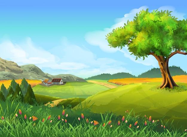 Wiejski krajobraz, przyroda, lato, tło