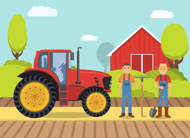 Wiejski krajobraz z ciągnikiem i rolnikami oraz stodołą.