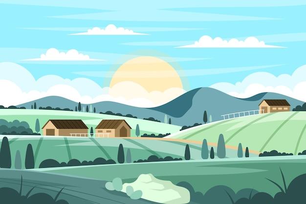 Wiejski krajobraz z domami