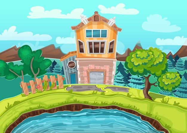 Wiejski krajobraz z domem, górami i drzewami