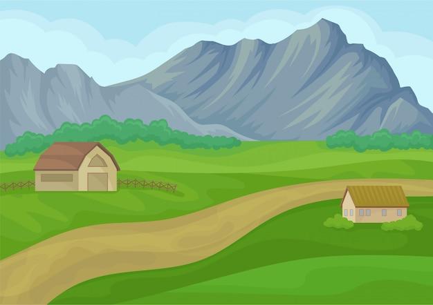 Wiejski krajobraz z małym domkiem i stodołą, drogą gruntową, zielonymi łąkami i dużymi szarymi górami.