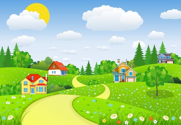 Wiejski krajobraz z polami i wzgórzami