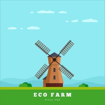 Wiejski krajobraz z wiatrakiem. koncepcja gospodarstwa ekologicznego