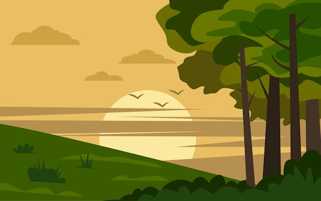Wiejski krajobraz zachód słońca w płaskiej konstrukcji