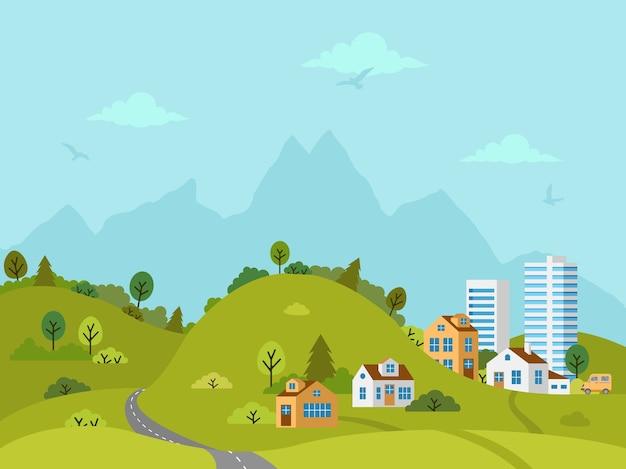 Wiejski pagórkowaty krajobraz z domami, budynkami, zielonymi wzgórzami, drzewami i drogą. płaska konstrukcja, ilustracja.