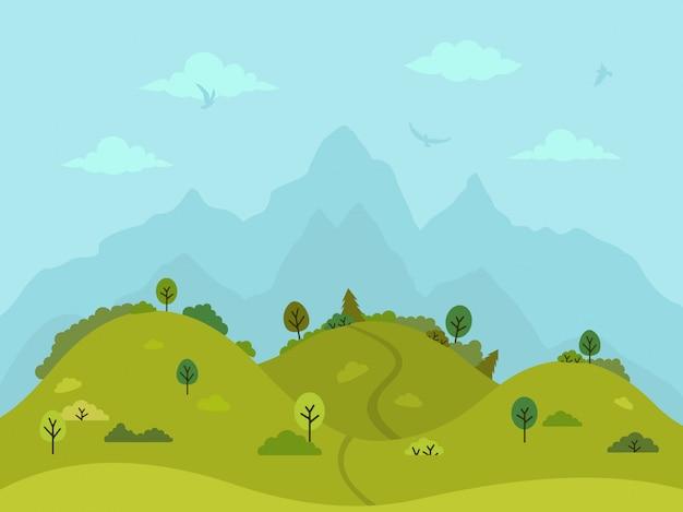 Wiejski pagórkowaty krajobraz z drzewami i górami