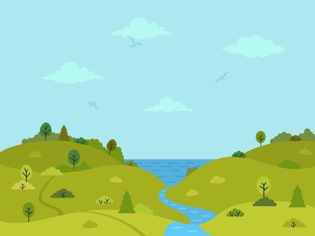 Wiejski pagórkowaty krajobraz z zielonymi wzgórzami, drzewami i rzeką
