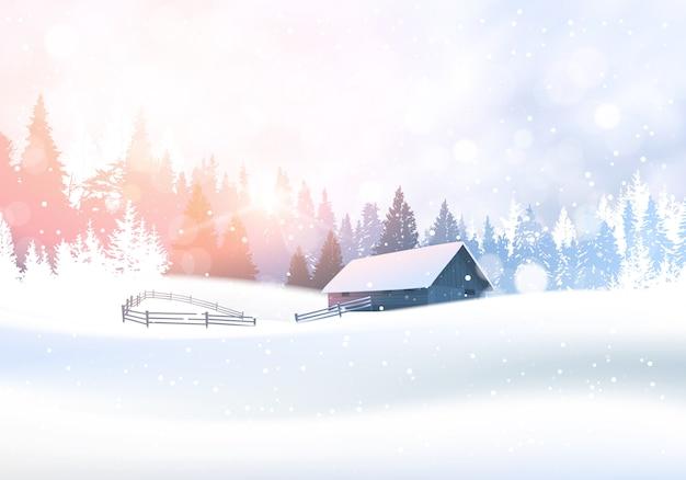 Wiejski zima krajobraz z domem w śnieżnym lesie sosny drzewa lasy tło