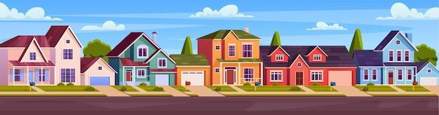Wiejskie domki, podmiejska ulica z nowoczesnymi budynkami z garażami i zielonymi drzewami. elewacje domów z drogą asfaltową przed podwórkami. ilustracja wektorowa w stylu płaski