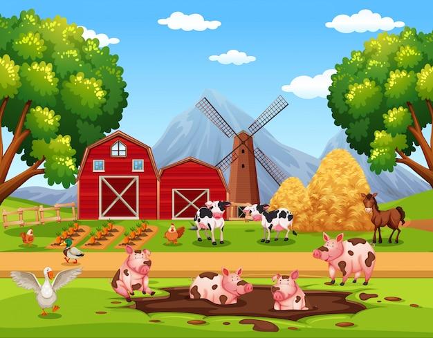 Wiejskie szczęśliwe zwierzęta gospodarskie