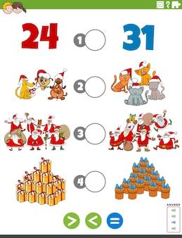 Większa mniej lub równa gra z kreskówek dla dzieci
