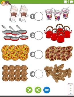 Większe mniejsze lub równe zadanie z obiektami żywnościowymi