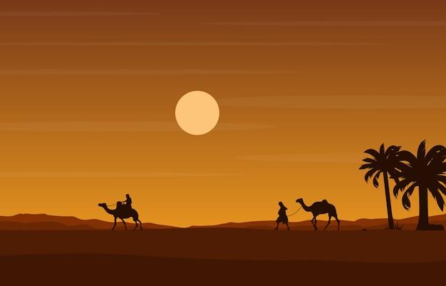 Wielbłąd jeździec krzyżuje ogromną pustynnego wzgórza arabską krajobrazową ilustrację