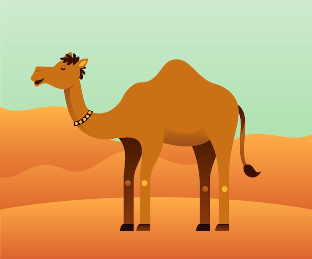 Wielbłąd z pustynnym tłem