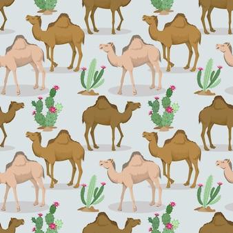 Wielbłądy i kaktus w pustynnym wzorze.