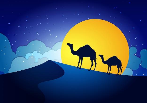 Wielbłądy w nocy pustyni, księżyc, papier sztuka