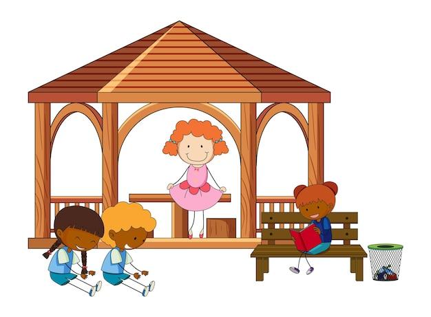 Wiele dzieci robi różne czynności w altanie