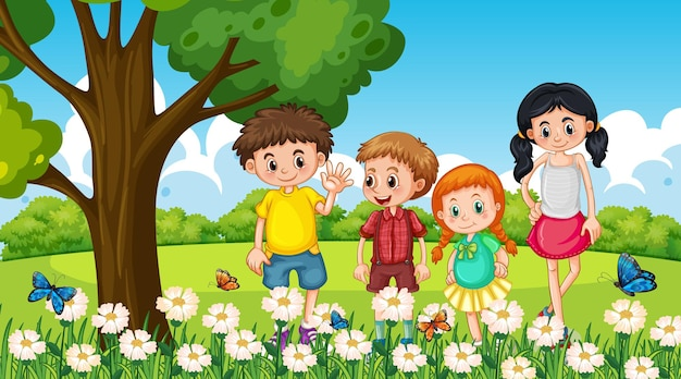 Wiele dzieci stoi w ogrodzie kwiatowym