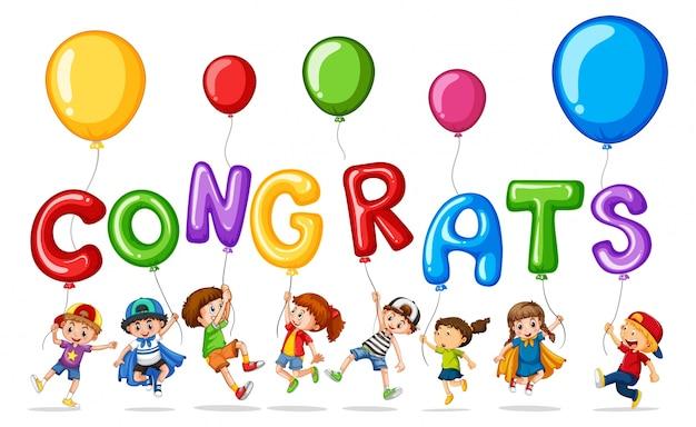Wiele dzieci z balonem wyraz gratulacje