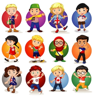 Wiele dzieci z różnych krajów