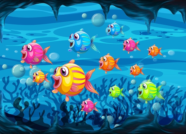 Wiele egzotycznych ryb postać z kreskówki w podwodnym tle