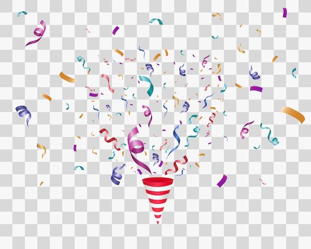 Wiele kolorowych malutkich konfetti i wstążek na przezroczystym tle. kolorowe konfetti jasne na przezroczystym tle