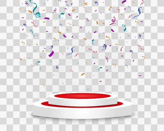 Wiele kolorowych malutkich konfetti i wstążek na przezroczystym tle. kolorowy jasny konfetti na białym tle na podium.