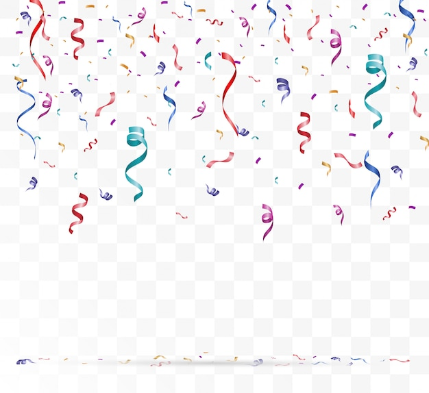 Wiele kolorowych malutkich konfetti i wstążek na przezroczystym tle. uroczyste wydarzenie i impreza. wielokolorowe tło. kolorowe konfetti jasne na białym tle na podium.