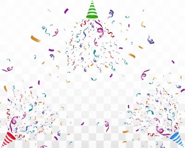 Wiele kolorowych malutkich konfetti i wstążek na przezroczystym tle. uroczyste wydarzenie i impreza. wielokolorowe tło. kolorowe konfetti jasne na przezroczystym tle