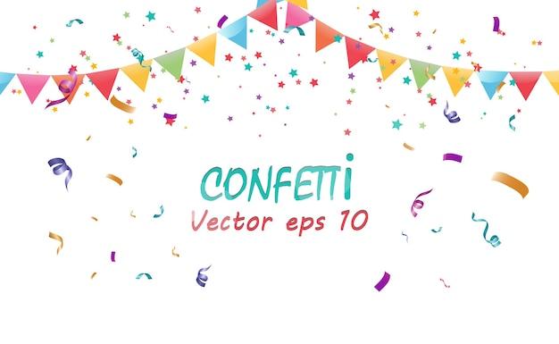 Wiele kolorowych malutkich konfetti i wstążek. uroczyste wydarzenie i impreza.