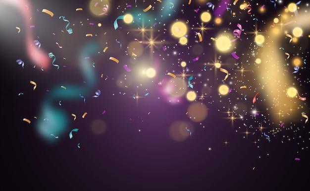 Wiele kolorowych malutkich konfetti i wstążek