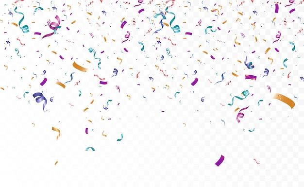Wiele kolorowych małych konfetti i wstążek na przezroczystym tle. świąteczne wydarzenie i impreza. wielokolorowe tło. kolorowe jasne konfetti na podium.