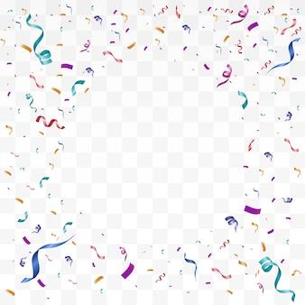 Wiele kolorowych małych konfetti i wstążek na przezroczystym tle.