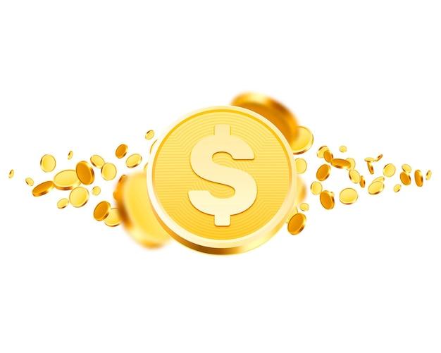 Wiele monet latających duże wygrane na białym tle. ilustracja wektorowa